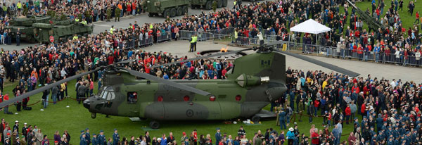 A CH-147F Chinook helicopter sits on Parliament Hill in Ottawa, Ontario on May 9, 2014, as part of the National Day of Honour commemoration ceremonies.