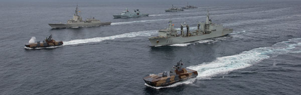 Mar 2016 – SNMG1 ships (Norway, Spain, Britain, France)  in formation after exercise Cold Response