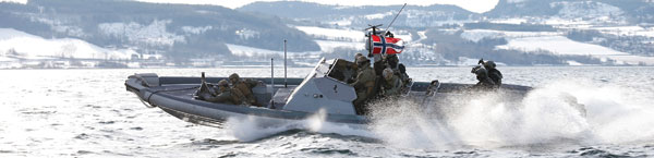 Special forces from both Norwegian Naval Special Operation Command and the Royal Netherlands Marine Corps use an RHIB boat during winter exercise Cold Response 2016.