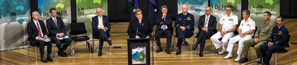 Defence Minister Marise Payne speaks at the Australian Defence Force Academy at the launch of the 2016 Defence White Paper.