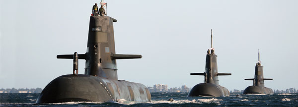 The RAN operates six Collins-class Australian-built diesel-electric submarines. In this photo, HMAS Dechaineux leads Waller and Sheean in formation near Rockingham Western Australia.
