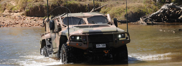 Hawkei water fording testing.