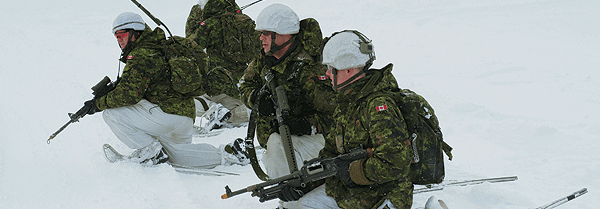 March 2012 – Canadian soldiers  regroup after conducting an attack  on an enemy position in the mountains  near Gratangsbotn, Norway during Exercise  Cold Response, a Norwegian-led, invitational ­military exercise with participants from 14 nations.
