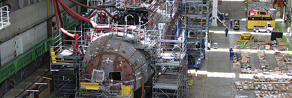 Nuclear-powered Barracuda for the French Navy shown here under construction in the DCNS Cherbourg facility in France.