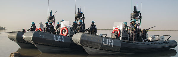 UN peacekeepers from Bangladesh ready to deploy for a patrol of the Niger River in Ansongo, in eastern Mali.