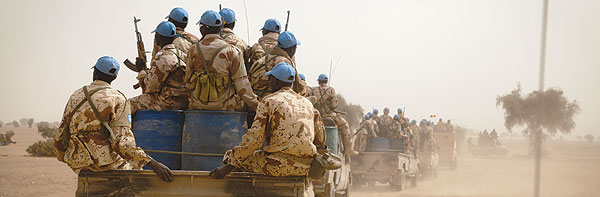 Chadian UN peacekeepers escort a military delegation from Bamako to the Chadian Base in Tessalit, North of Mali.