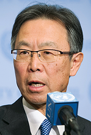 Motohide Yoshikawa, Permanent Representative of Japan to the UN, speaks to journalists following urgent Security Council consultations on the 6 January nuclear test conducted by the Democratic People's Republic of Korea.