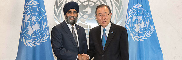 Oct 2016 UN Secretary-General Ban Ki-moon (right) meets with Canada's Defence Minister, Harjit Singh Sajjan.