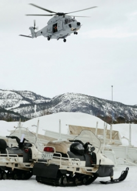 NH90 Swedish helicopter arrives at base camp